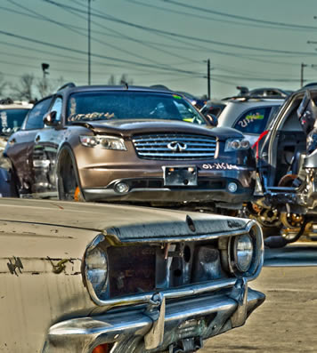 auto wrecking old and new cars